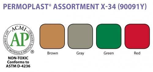 Permoplast Modelling Clay X-34 Assorted Colours Br/Gr/G/R