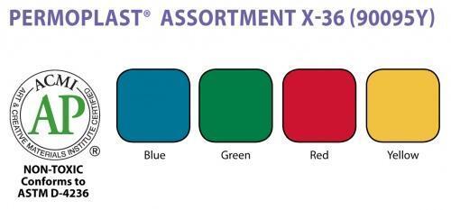 Permoplast Modelling Clay X-36 Assorted Colours B/R/Y/G
