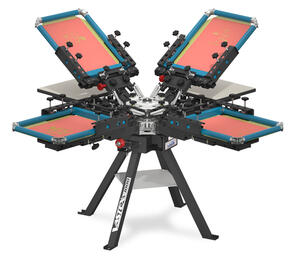 Vastex V-1000 Commercial Screen Printing Press 4 Station 4 Colour with Side Clamps