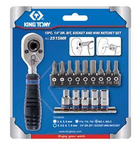 KING TONY KT2515MR Bit/Ratchet Set 1/4Dr 15pc