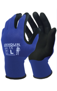 ARMOUR Black Foam Nitrile Gloves Large