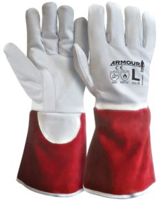 ARMOUR TIG Welding Kevlar Lined Glove X/Large (Red Cuff)