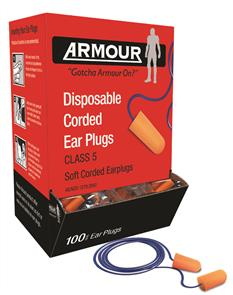 ARMOUR Earplugs Corded 100 Pack Class5