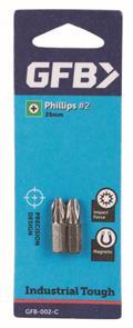 GFB -  2C #2 Phillips Bit 25mm (2 Pack)