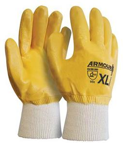 ARMOUR Gloves, Wrist Orange Nitrile Knit Large