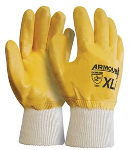 ARMOUR Gloves, Wrist Orange Nitrile Knit XLarge